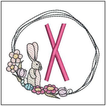Bunny Wreath ABCs - X - Embroidery Designs