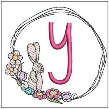 Bunny Wreath ABCs - Y - Embroidery Designs