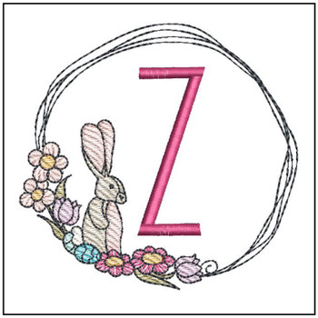 Bunny Wreath ABCs -Z - Embroidery Designs