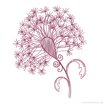 Elegant Dandylion Redwork - Embroidery Designs