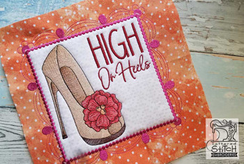 "High On Heels Quilt Block - Fits a 5x7, 6x10, & 8x8"""" Hoop - Machine Embroidery Designs"