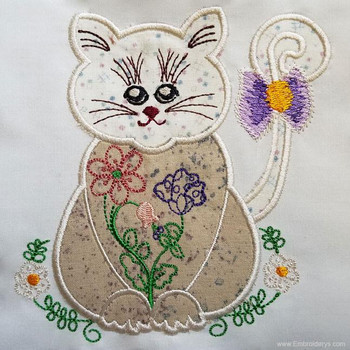 Sweet Kitty Applique - Embroidery Designs