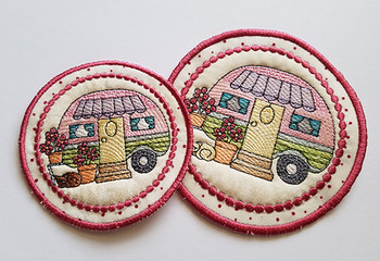 Vintage Camper 3 Coaster - Machine Embroidery Design - 4x4 & 5x7 In The Hoop Instant Download
