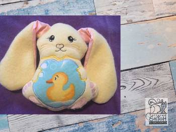 "Bunny Stuffie - Open Eyes- Fits a 5x7"" Hoop - Machine Embroidery Designs"
