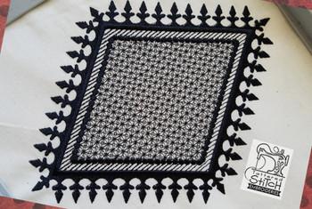 "Motif Knockdown Fleur De Lis Diamond-Square-Circle - Fits 4x4, 5x7, 7x11 and 8x8"" Hoop - Instant Downloadable Machine Embroidery"