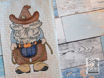 "Cowboy Gnome Fits a 4x4"" 5x7"" &  8x8"" Hoop - Machine Embroidery Designs"