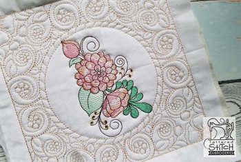 "Peony Cluster Quilt Block - Fits a  5x7"",6x10"" & 8x8"" Hoop - Machine Embroidery Designs"