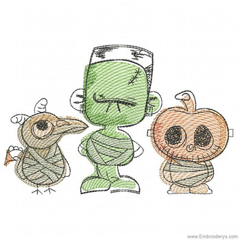 Mummy Crew Watercolor - Embroidery Designs