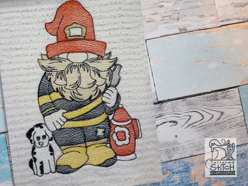 """Fireman Gnome Fits a 4x4"""" 5x7"""" &  8x8"""" Hoop - Machine Embroidery Designs"""