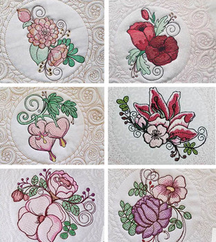"""30% Off - Sketched Floral Clusters Quilt Blocks - Fits a  5x7"""",6x10"""" & 8x8"""" Hoop - Machine Embroidery Designs"""