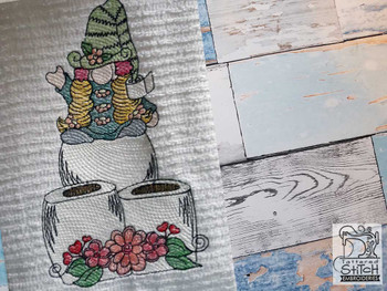 """Queen of the Tp Gnome Fits a 4x4"""" 5x7"""" &  8x8"""" Hoop - Machine Embroidery Designs"""