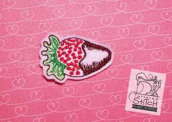 Chocolate Dipped Strawberry Feltie - Embroidery Designs