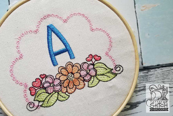 Wildflower ABCs - A - Embroidery Designs