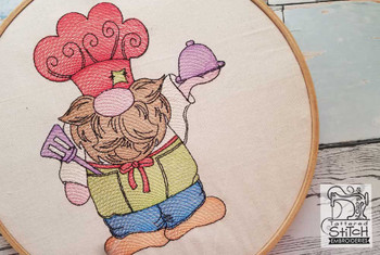 "Chef Gnome Fits a 4x4"" 5x7"" &  8x8"" Hoop - Machine Embroidery Designs"
