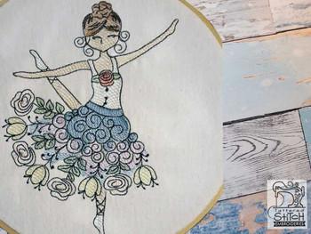 "Rosebud Ballerina - Fits a 4x4"",  5x7"" &  8x8"" Hoop - Machine Embroidery Designs"