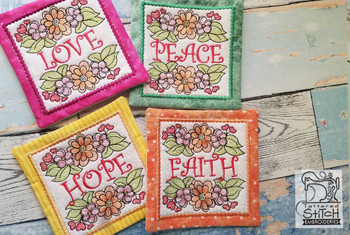 "Wildflower Coasters- Fits a 5x7"" Hoop - Machine Embroidery Designs"