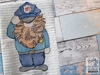 """Officer Gnome Fits a  4x4"""", 5x7"""" &  8x8"""" Hoop - Machine Embroidery Designs"""