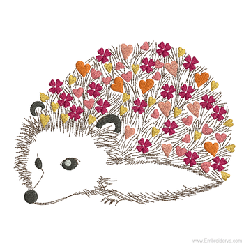 Cute Baby Hedgehog Love - Embroidery Designs