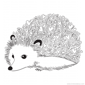 Cute Baby Hedgehog Love - Embroidery Designs