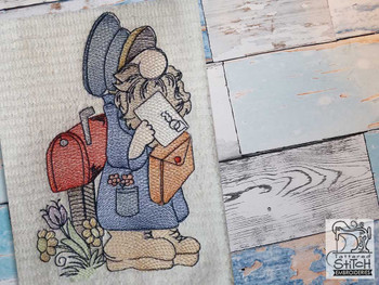 """Mailman Gnome Fits a 4x4"""",  5x7"""" &  8x8"""" Hoop - Machine Embroidery Designs"""
