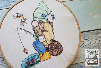 "Fishing Gnome Fits a 4x4"",  5x7"" &  8x8"" Hoop - Machine Embroidery Designs"