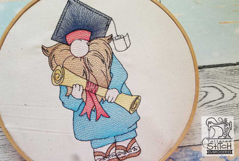 "Graduate Gnome Fits a 4x4"",  5x7"" &  8x8"" Hoop - Machine Embroidery Designs"