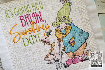 """Lady Golf Gnome (Gnome Only) - Fits a 4x4"""",  5x7"""" &  8x8"""" Hoop - Machine Embroidery Designs"""