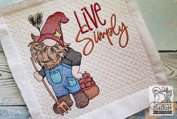 """Farmer Gnome (Gnome Only) - Fits a 4x4"""",  5x7"""" &  8x8"""" Hoop - Machine Embroidery Designs"""