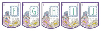 """Gnome Bunting - Bundle- Letters -F-J - Fits a 5 by 7"""" Hoop - Instant Downloadable Machine Embroidery"""