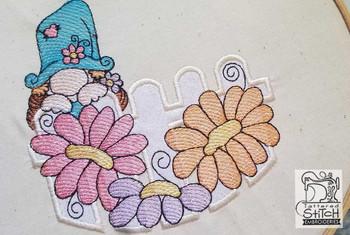 "Peeking Gnome Applique - Fits a 4x4"",  5x7"" &  8x8"" Hoop - Machine Embroidery Designs"