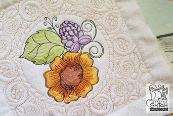 """Sunflower Cluster Quilt Block - Fits a  5x7"""",6x10"""" & 8x8"""" Hoop - Machine Embroidery Designs"""