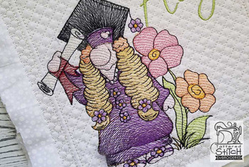 """Girl Graduate Gnome (Gnome Only) - Fits a 4x4"""",  5x7"""" &  8x8"""" Hoop - Machine Embroidery Designs"""