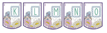 """Gnome Bunting - Bundle- Letters -K-O - Fits a 5 by 7"""" Hoop - Instant Downloadable Machine Embroidery"""