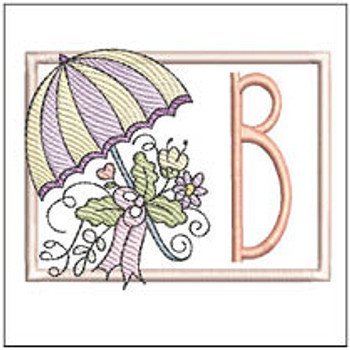 Umbrella Applique ABCs - B - Embroidery Designs