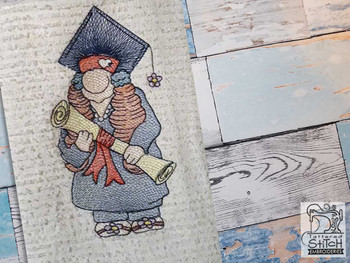 "Girl Graduate 2 Gnome - Fits a 4x4"",  5x7"" &  8x8"" Hoop - Machine Embroidery Designs"
