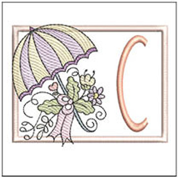 Umbrella Applique ABCs - C - Embroidery Designs