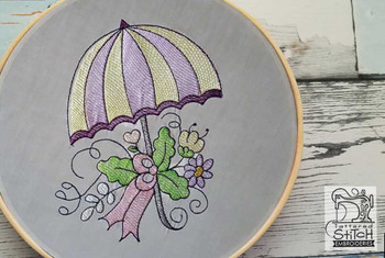 "Umbrella - Fits a 4x4"" &  5x7""  Hoop - Machine Embroidery Designs"