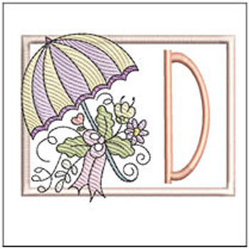 Umbrella Applique ABCs - D- Embroidery Designs