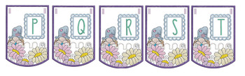 """Gnome Bunting - Bundle- Letters -P-T - Fits a 5 by 7"""" Hoop - Instant Downloadable Machine Embroidery"""