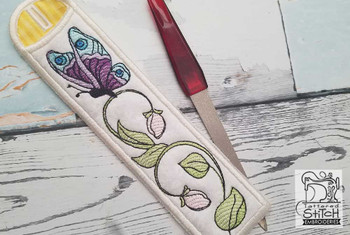 "Butterfly Emery Board & Straw Holder - Fits a 5x7""6x11"" & 8x12"" Hoop - Machine Embroidery Designs"