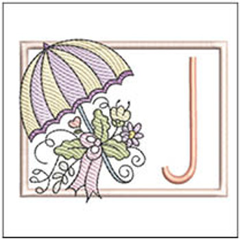 Umbrella Applique ABCs - J - Embroidery Designs