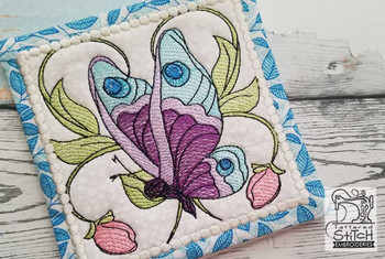 "Butterfly Mug Rug - Fits a 5x7"" Hoop - Machine Embroidery Designs"