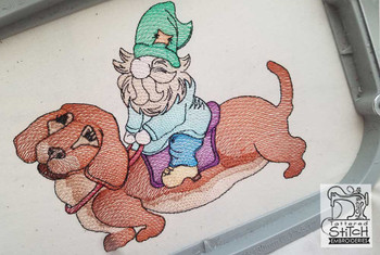 """Gnome on Dachshund - Fits a 4x4"""",  5x7"""" &  8x8"""" Hoop - Machine Embroidery Designs"""