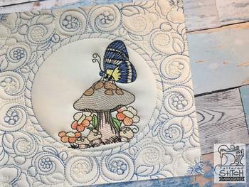 "Butterfly Mushroom Quilt Block-Fits a  5x5"", 6x6"", 7x7"", 8x8"" & 10x10""  Hoop - Machine Embroidery Designs"