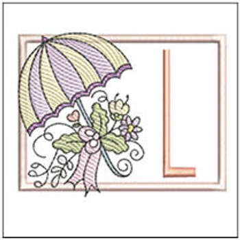 Umbrella Applique ABCs - L - Embroidery Designs
