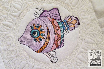 "Minnow Quilt Block-Fits a  5x5"", 6x6"", 7x7"", 8x8"" & 10x10""  Hoop - Machine Embroidery Designs"