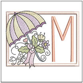 Umbrella Applique ABCs - M - Embroidery Designs