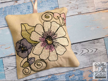 """Daisy Sachet -  Fits a 4x4"""" Hoop - Machine Embroidery Designs"""