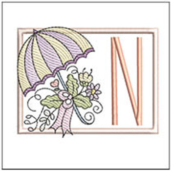 Umbrella Applique ABCs - N - Embroidery Designs