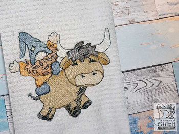 """Gnome on Bull - Fits a 4x4"""",  5x7"""" &  8x8"""" Hoop - Machine Embroidery Designs"""